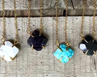 Geometric Multi Stone Diamond Prong Pendant Gold Chain | Howlite Necklace | Turquoise Necklace | Amethyst Necklace | Onyx Necklace