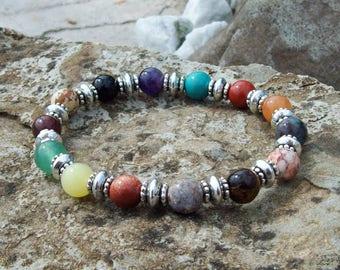 Karma Balance, Multi-Gemstone with Silver, Beaded Stretch Bracelet, Zen jewelry, Boho Hippie