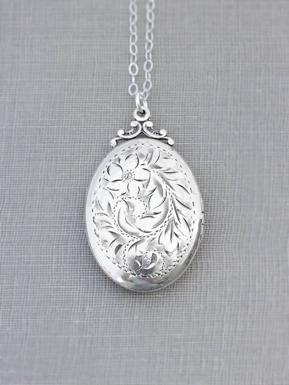 Sterling Silver Locket Necklace, Large Oval Vintage Classic Photo Pendant - Inspired