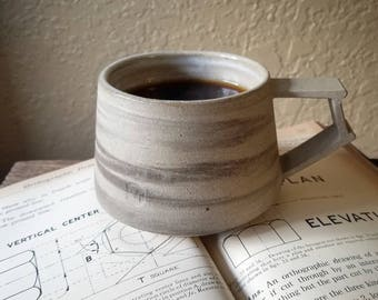 Gray Marbled  Architectural Coffee Mug - Brutalist Brutalism Ceramic Pottery - Raw Clay Porcelain