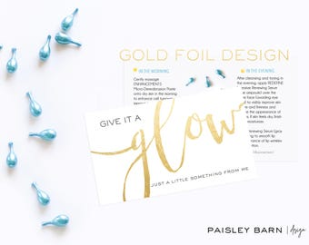 Gold Foil Mini Facial  100 Cards | skincare, 2 sided, business card, printed, R+F, marketing