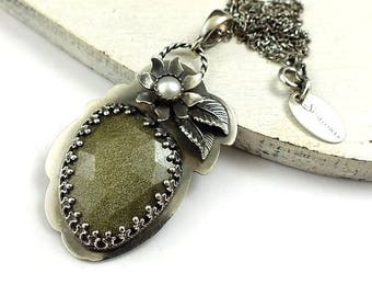 Silver retro pendant, metalwork jewelry, sterling gemstone jewelry, romantic necklace