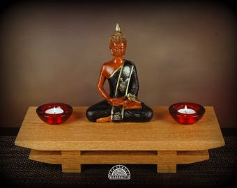 Oak  altar -  pedestal , includes Buddha statue and tea candles