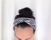 Hair scarf- Nautical Accessories- Head scarf- Turban headband- Hair Accessories for Women- head scarves- navy and white- head wrap- striped