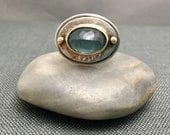 Moss Aquamarine Rose Cut Cabochon Sterling Silver 14K Gold Ring Size 8.5 US