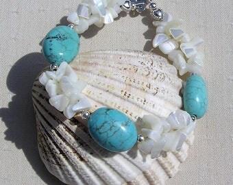 "Turquoise Magnesite & White Mother of Pearl Gemstone Bracelet ""Tropicana"", Chakra Bracelet, Summer Bracelet, Magnesite Bracelet, Shell"