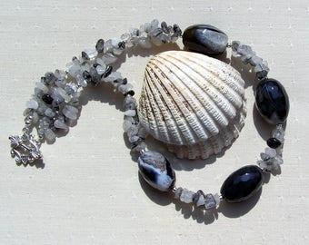 "Black Agate & Quartz Crystal Gemstone Chunky Statement Necklace ""Black Rumba"", Agate Necklace, Quartz Necklace, Chakra Necklace, Virgo"