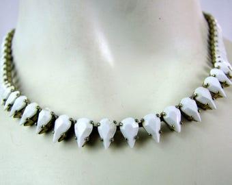 Vintage White Crystal Diamond Shape Choker Necklace 1960s