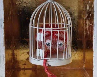 The Pet in a Cage / sculpture/ fibre art/ mixed media sculpture/ Brain/ anatomic sculpture