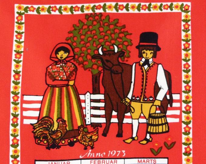 Vintage 1973 Danish wall hanging calendar