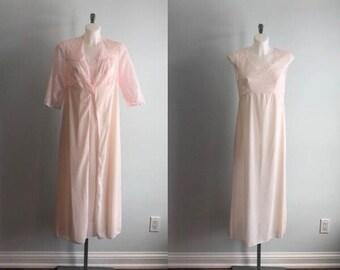 Vintage Pink Peignoir Set, Biconf, 1980s Peignoir Set, Peignoir Set, Pink Peignoir Set, Peignoir and Nightgown Set, Lingerie