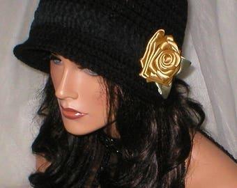 35% OFF SALE Crochet Women Black Ebony Suede Gold Rose 1920's Cloche Flapper Hat