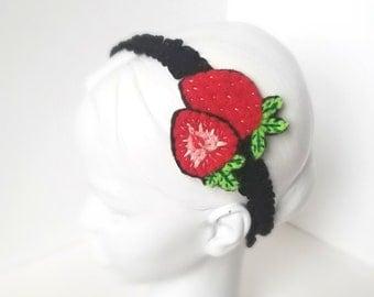 Strawberry Headband | Baby Shower Gift, Newborn Photo Prop, Spring, Fruit, Flower Crown, Elastic Hair Band, Cute, Child, Accessory, Summer |