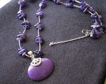 Purple beaded necklace | chunky statement | bohemian | pendant | stone |