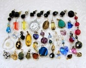 LOT 42 Pendants Charms Single Earring Drops Unique Dangles Cut Glass Crystal Hearts Figural Black Blue Purple Green Salvage Jewelry Crafts