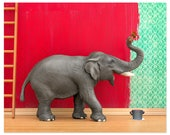 Elephant animal art print: Big Job