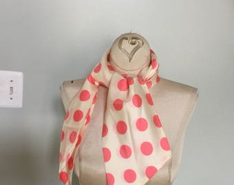 1960's pink Polka Dot Scarf
