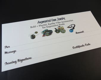 40 Dollar Gift Certificate for Augmented Gem Jewelry Designs from Stoney Creek / Hamilton Ontario, Forty Dollars Canadian No Expiry Date