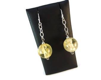 Pale Yellow Drop Earrings Silver Dangle, Golden Yellow Earrings Sterling Silver Chain Dangle, Glitter Resin Earrings Yellow Jewelry Gift