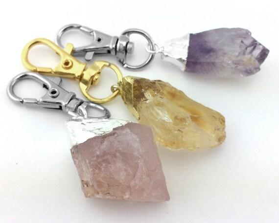 Raw Crystal Key Chain