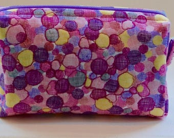 Cotton Print Box Makeup Bag