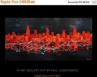 17% OFF /ONE WEEK Only/ Enormous Chicago Scape Knife Abstract 60x30 Paul Juszkiewicz black red orange