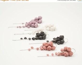 SALE Sterling Silver Long Dangle Cluster Earrings , Purple Porcelain Peony Flowers Bridal  Earrings EL PASO, Coral Wedding Jewelry