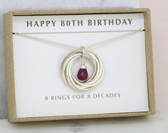 80th birthday gift, July birthstone necklace silver, 80th gift for grandma - Lilia
