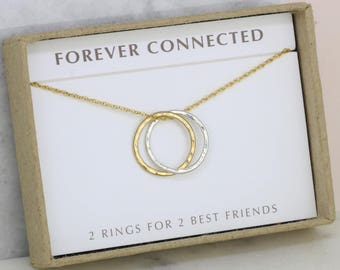Friendship necklace, best friend gift, best friend necklace, 2 linked rings necklace - Lilia