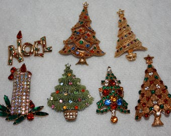 Lot of 7 Vintage Rhinestone Christmas Pins Brooches Trees Noel Candle