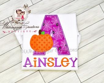 Baby Girl Halloween Outfit - Newborn Pumpkin Alpha Shirt - Personalized Halloween Shirt - Toddler Girl Halloween Holiday Outfit