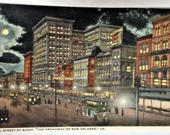 Vintage New Orleans Post Card - Canal Street by Night - 1900s