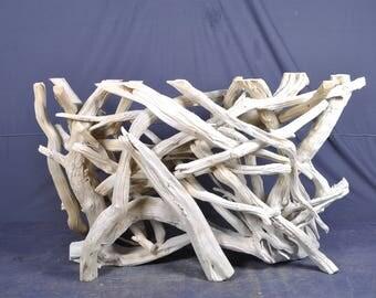 White rectangle driftwood foyer/sofa table