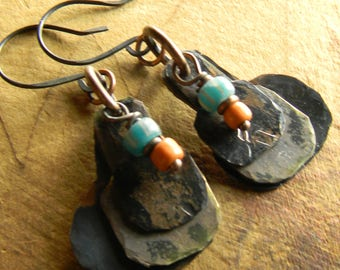 Tribal Earrings Green Orange Hammered Copper Brass Hand Forged