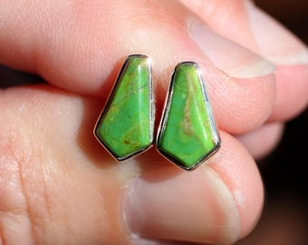 Green Apple - Rare Gaspeite Sterling Silver Earrings