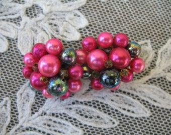 Vintage Cluster Beaded Earrings ~ Clip On ~ Pink & Blue Pearl Beads