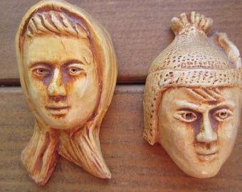 Two Terra Cota Faces Vintage Ceramic Hand Made in Madeira Wall Hanging