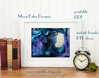 Watercolor Dragon Printable Digital Cosmic Art Celestial Print Mystic Print Housewarming gift for Him Mythical Creature Diy decor Starry Sky