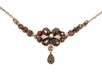 Vintage garnet flower necklace with seed pearl in Victorian style // ГРАНАТ #PK