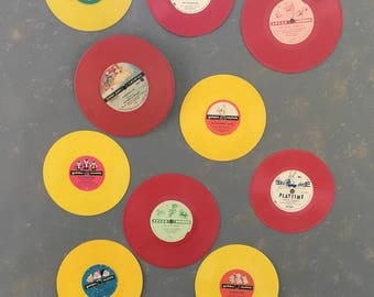 Nine Vintage Children's Records, vinyl, child's room decor, red, yellow, green, black, 50s