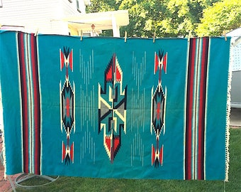 Vintage Mexican Blanket, Throw, stripe, wool, Indian Trading Post, Turquoise, black, red