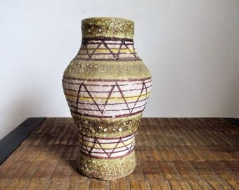 Mid Century  Modern Florentine Original Italy Geometric Design Lava Glaze Vase