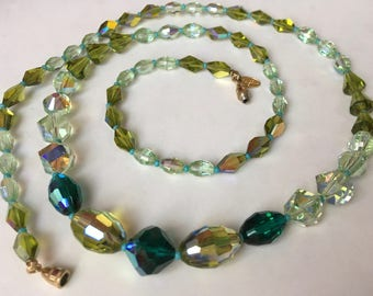 Long Vendome Emerald Peridot Green AB Crystal Necklace – Designer Signed Vintage 1950s
