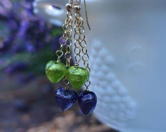 Venetian Glass Lavender & Green Heart 14K Gold Fill Earrings