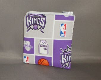 Kings Basketball - Coin Purse - Gift Card Holder - Card Case -Small Padded Zippered Pouch - Mini Wallet - Sacramento Kings