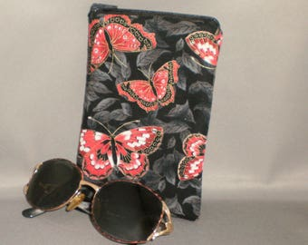 Butterfly - Eyeglass or Sunglasses Case - Zipper Top - Padded Zippered Pouch - Butterflies - Red, White, Gold