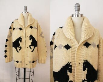 horse sweater - 50s cowichan sweater - 1950s ivory black vintage wool cowichan - mary maxim - curling sweater