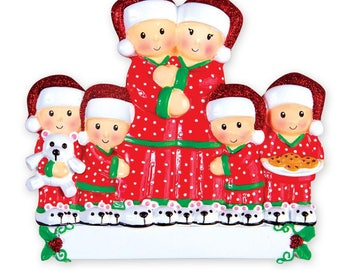 Pajama Family of Six Personalized Christmas Ornament , Grandparents-Family of Six Grandkids, Co-workers, Friends