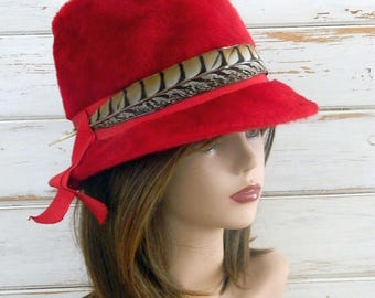 Dark Red Milady Bucket Style Hat - Made in UK - Feather and Hat Pin - Size 22