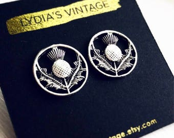 Scottish Thistle Stud Earrings / Silver Post Back Thistle Flower Highland Renaissance Faire Costume Scotland Themed Wedding Bridesmaids Gift